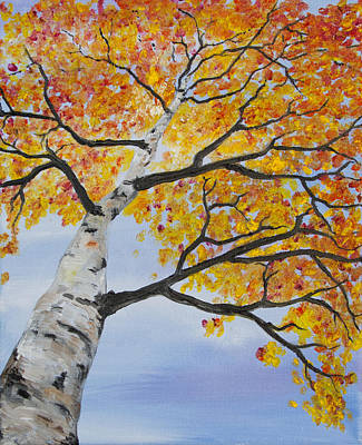 Painting - Fiery Aspen by Melinda Cummings
