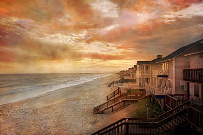 Topsail Island Photograph - Fiery Calm Coastal Sunset by Betsy Knapp