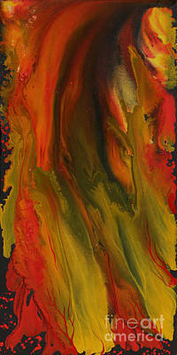 Abstract Painting - Fiery Clouds - 2 by Nandita Albright