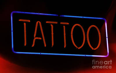 Photograph - Fiery Neon Tattoo Sign by Phil Cardamone