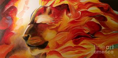 Lion Of Judah Painting - Fiery Passion by Angela Chen