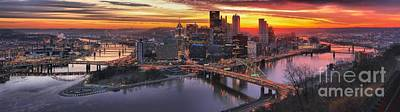 Photograph - Fiery Pittsburgh Morning Digital Painting by Adam Jewell