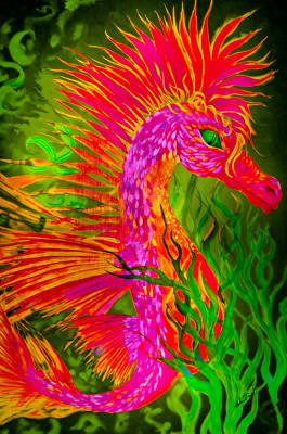 Painting - Fiery Sea Horse by Adria Trail