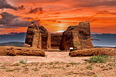 Photograph - Fiery Sky Over Pecos Pueblo by Bill Barber