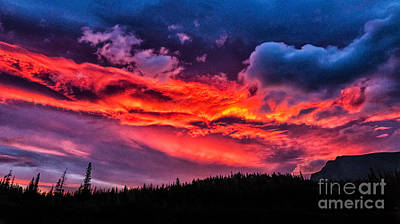 Photograph - Fiery Sunrise At Glacier National Park by Sophie Doell