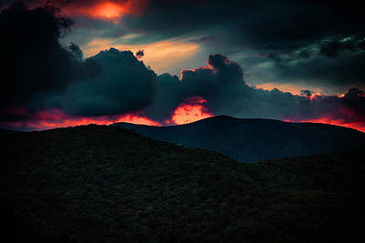 Fall Photograph - Fiery Sunrise On The Blue Ridge Parkway by John Haldane