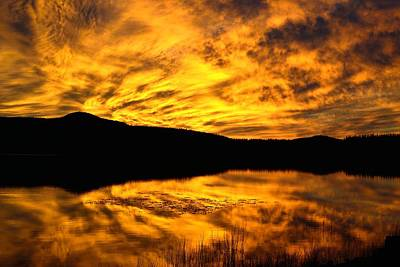 Fiery Sunrise Over Medicine Lake Art Print by Rich Rauenzahn