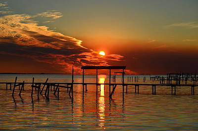 Photograph - Fiery Sunset Colors Over Santa Rosa Sound by Jeff at JSJ Photography