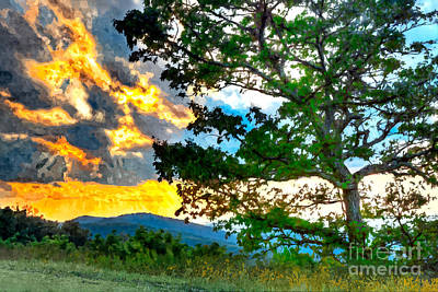 Fiery Sunset In The Blue Ridge II Art Print