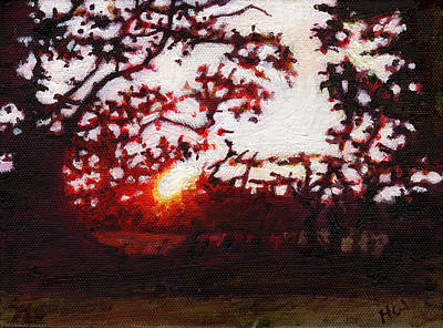Painting - Fiery Sunset Miniature by Helen White