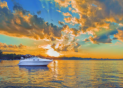 Fiery Sunset On Lake Minnetonka Art Print by Bill Tiepelman