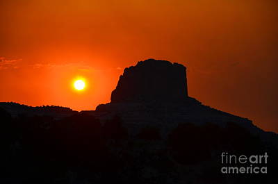Photograph - Fiery Sunset Over Butte by Debra Thompson