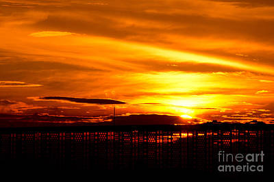 Photograph - Fiery Sunset Through A Fence by Beverly Claire Kaiya