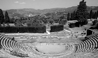 Photograph - Fiesole Amphitheater In Black And White by Caroline Stella