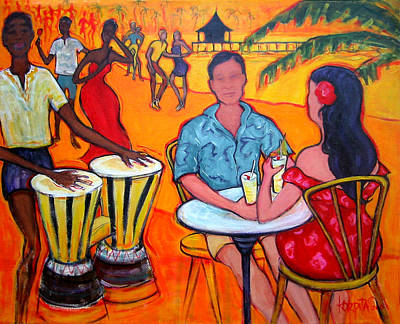Dancing On The Beach Painting - Fiesta At The Beach by Rebecca Korpita