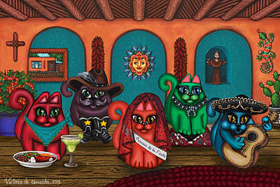 Funny Cat Painting - Fiesta Cats II by Victoria De Almeida