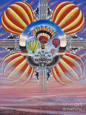 Hot Air Balloon Painting - Fiesta De Colores by Ricardo Chavez-Mendez