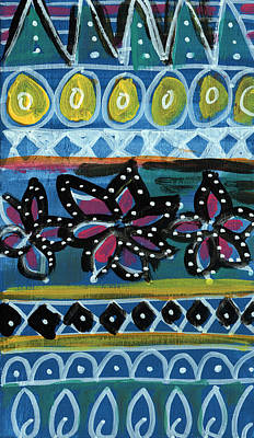 Fiesta In Blues- Abstract Pattern Painting Art Print by Linda Woods