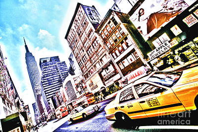 Fifth Avenue And Empire State Hdr Art Print by Kim Lessel