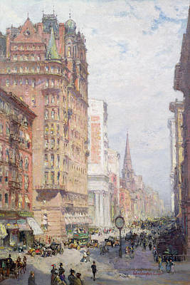 Urban Store Painting - Fifth Avenue New York City 1906 by Colin Campbell Cooper