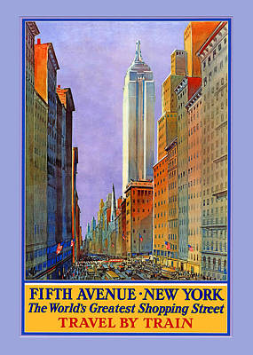 Fifth Avenue  New York Travel Poster Art Print by Denise Beverly