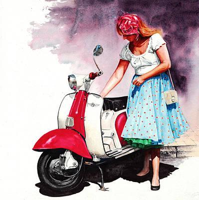Fifties Lambretta Girl Art Print