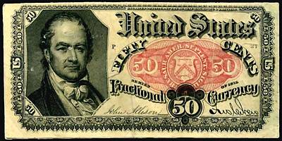Fifty Cents 5th Issue U.s. Fractional Currency Fr 1381 Art Print by Lanjee Chee