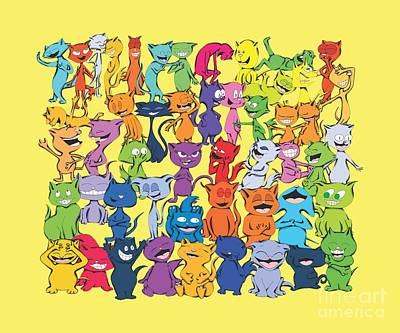 Digital Art - Fifty Happy Cats In Toy Colors by Pet Serrano