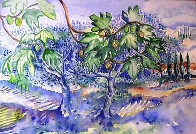 Fruit Tree Art Painting - Fig Tree And Olive Trees In A Tuscan Garden by Trudi Doyle