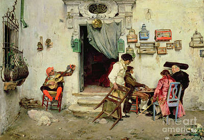 Spain Painting - Figaro's Shop by Jose Jimenes Aranda
