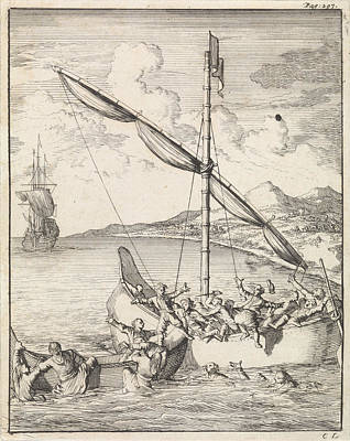 Canoe Drawing - Fight At A Malaysian Canoe In The Bay Of Siam by Caspar Luyken And Abraham De Hondt