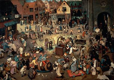 Fool Photograph - Fight Between Carnival And Lent, 1559 Oil On Oak Panel by Pieter the Elder Bruegel