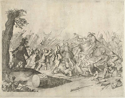Infantryman Drawing - Fight Between Horsemen And Infantry, Willem Basse by Willem Basse