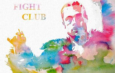 Classic Hollywood Mixed Media - Fight Club Watercolor Poster by Dan Sproul