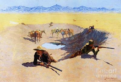 Painting - Fight For The Waterhole by Pg Reproductions