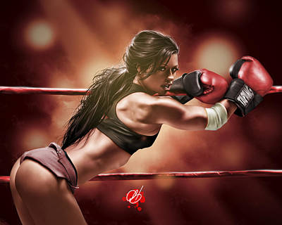 Pin-up Painting - Fight Night by Pete Tapang