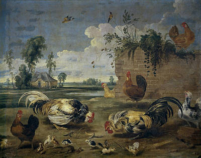 Frans Snyders Painting - Fight Of Cocks by Frans Snyders