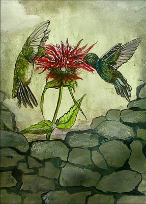 Painting - Fight Of The Hummingbirds by Alexandria Weaselwise Busen