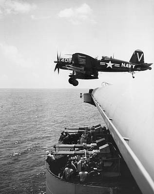 Korean War Photograph - Fighter Takes Off From Carrier by Underwood Archives
