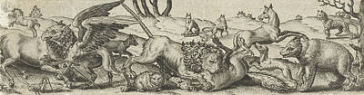 Tear Drawing - Fighting Animals In A Landscape, Abraham De Bruyn by Abraham De Bruyn