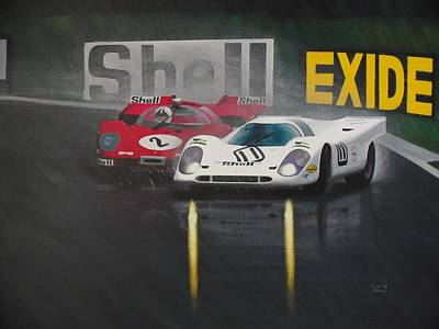 Sportscar Painting - Fighting Conditions by Kieran Roberts