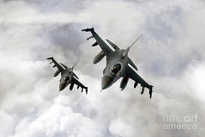 F-16 Digital Art - Fighting Falcons by J Biggadike