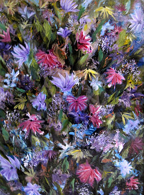 Painting - Fighting For Space Lll Flowerpatch Series by Roberta Rotunda