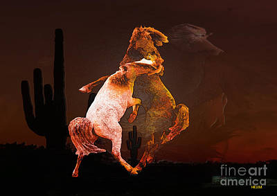 Photograph - Fighting Horses by Mayhem Mediums