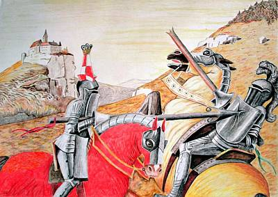 Camelot Drawing - Fighting Knights by Judith Groeger