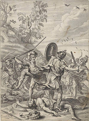 Aggressive Drawing - Fighting Odysseus, Anonymous, Abraham Van Diepenbeeck by Anonymous And Abraham Van Diepenbeeck