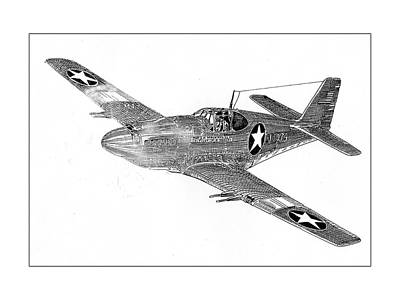 Drawing - Fighting P 51 by Jack Pumphrey