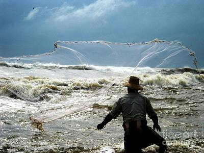 Lanka Photograph - Fisherman Fighting With Waves by Surendra Silva