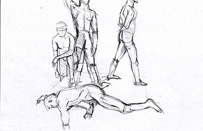 Drawing - Figrue Walk by John Jr Gholson