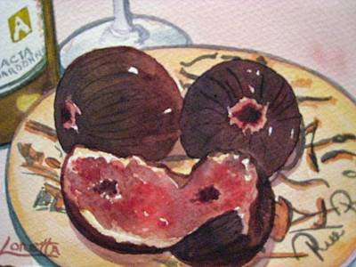 Wine Country Watercolor Painting - Figs And Wine by Loretta Barra